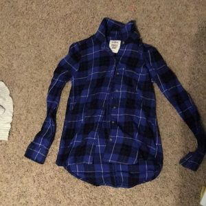 Blue black and white flannel